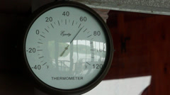Thermometer with Reflection of a Lake - stock footage