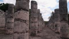 Group of columns front of a temple of warriors at Chichen Itza - stock footage