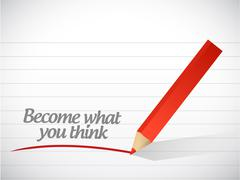 become what you think message illustration - stock illustration