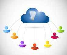 People connected to a cloud. illustration design Stock Illustration