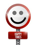 happy times road sign illustration design - stock illustration