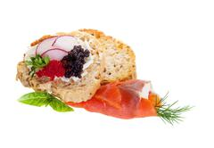 Canapes with smoked salmon and caviar Stock Photos