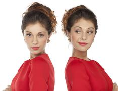 Portrait of beautiful twins young woman Stock Illustration