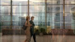 European parliamentarians walk and talk - stock footage
