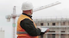Architect using tablet Stock Footage