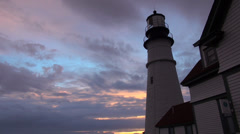 Portland Head lighthouse at dusk Stock Footage