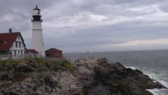 Fog Horn, Portland Head Lighthouse Stock Footage