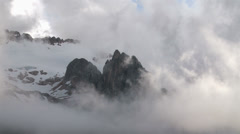 Clouds on mountain glacier Stock Footage