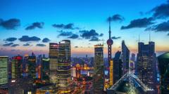 4K: Shanghai skyline,dusk to night,time lapse. Stock Footage