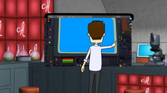 Cartoon Scientist at Control Panel Stock Footage