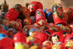 Matrioshkas in the crafts of Moscow, Russia Stock Photos