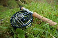 Fly Rod on Grass Stock Photos