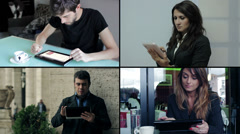 All people use tablet pc - multiscreen - stock footage