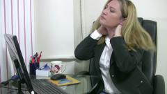 Businesswoman having nack pain 3 Stock Footage