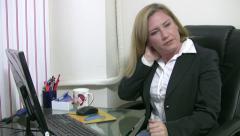 Businesswoman having nack pain Stock Footage