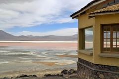laguna colorada in bolivia - stock photo
