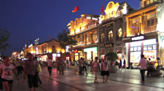 The visitors in Qianmen Commerial Area at night, Beijing, China Stock Footage