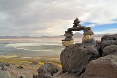 stone formation in the laguna colorada - stock photo
