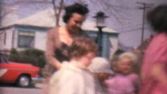 Kids Dancing In Circles Around Friends-1962 Vintage 8mm film - stock footage