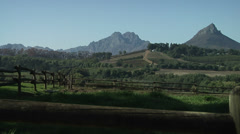 Beautiful mountains and vineyards of Stellenbosch South Africa. Stock Footage