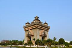 patuxai arch monument, vientiane laos - stock photo