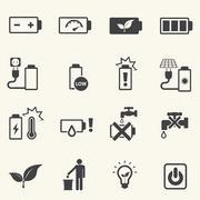 Battery icons set. - stock illustration