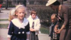 Dressed Up Kids Dancing In Driveway-1962 Vintage 8mm film - stock footage
