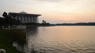 Stock Video Footage of The Steel Mosque Putrajaya During Sunset