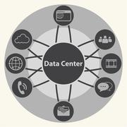 Stock Illustration of Data center and Centralized. System infrastructure management concept. Vector