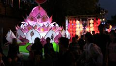 Illuminated dioramas at Loi Krathong Celebration, near Thapae Gate, Chiang Mai. Stock Footage