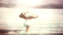 Breathtaking view of a detonating atom bomb - stock footage