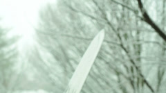 Sword broadsword snow winter Stock Footage