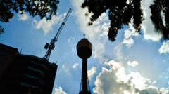 Timelapse Fast Moving Cloud And Sydney Tower Stock Footage