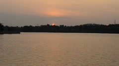 Setting Sun at Putrajaya Lake, Putrajaya During Hazy Weather Stock Footage