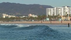 Los Angeles California Beach Waves And Paddle Board Stock Footage