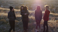 Stock Video Footage of Teen Girls Hugging In The Cold Outdoors