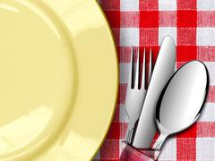 Plate with fork and knife on red tablecloth Stock Illustration