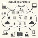 Cloud computing and Data management icons set. Vector Stock Illustration