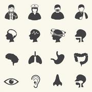 Medical Icons with texture background. Vector Stock Illustration