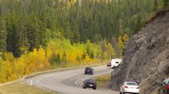 Kananaskis Trail, Alberta, cars and recreation vehicles - stock footage