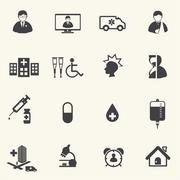 Medical and Hospital icons with texture background. Stock Illustration