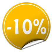discount round yellow sticker on white background - stock illustration