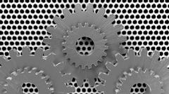 different gears in metall silver - stock illustration