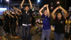 Crazy Street Dance. Chiang Mai holyday streets. Loi Krathong, Yee peng. Thai Stock Footage