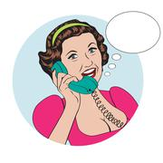 Stock Illustration of popart comic retro woman talking by phone