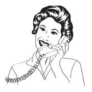popart comic retro woman talking by phone - stock illustration