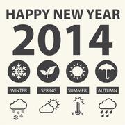 Happy new year 2014 with weather icons, Vector illustration Stock Illustration