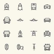Vehicle and transportation icon sets. Line icons. Stock Illustration