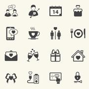 Valentine's Day and Love Icons. Vector icon set. Stock Illustration
