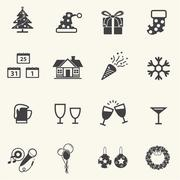 Christmas and New year Icons. Stock Illustration